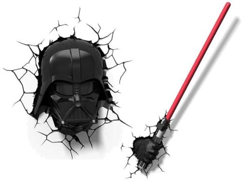 Zestaw Oprawy Dekoracyjne Dla Dzieci 3d Lampki Naścienne 3d Led Star Wars Vader Maska Miecz