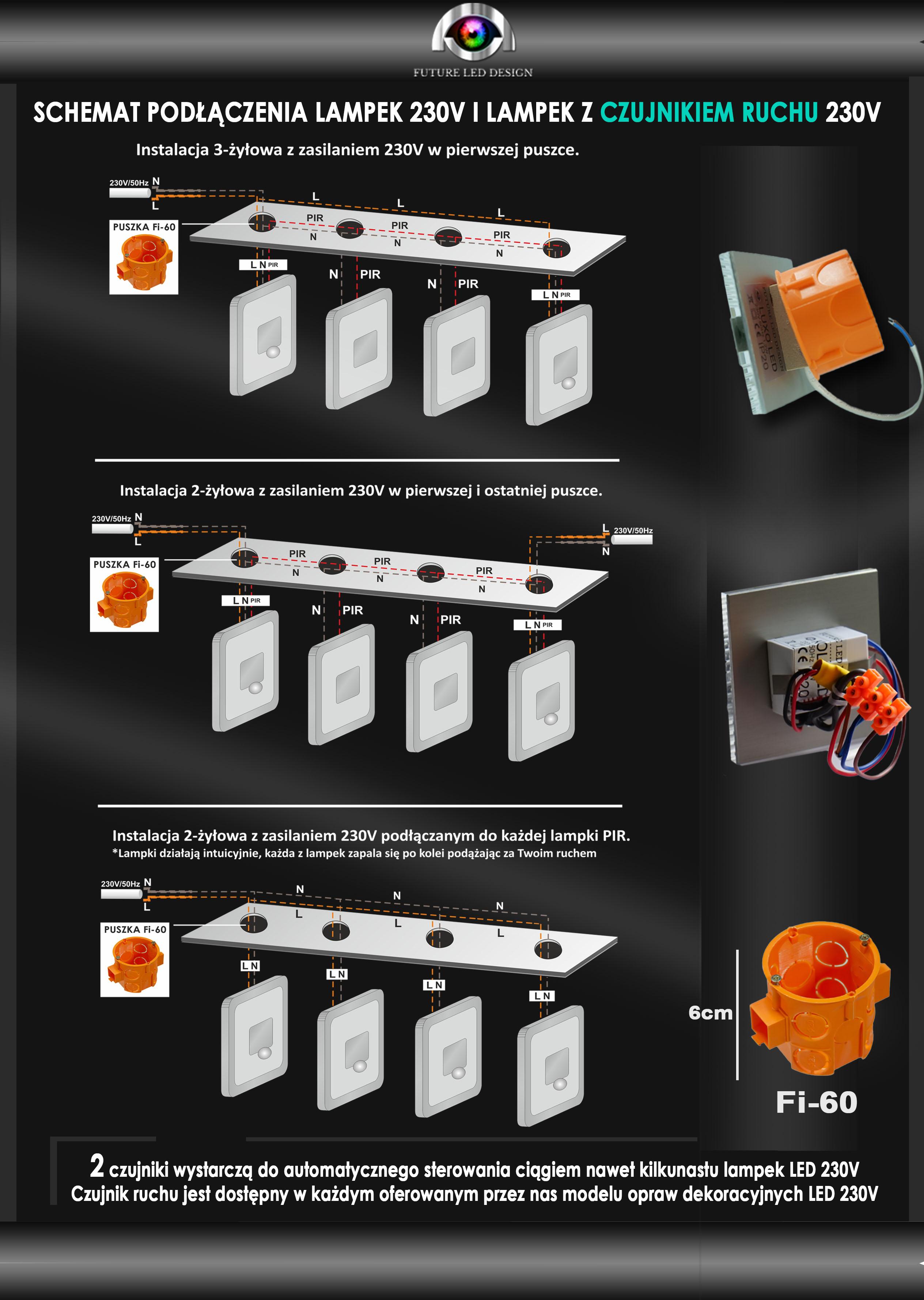 Oprawka Schodowa Led 230v Koli Lines Aluminium Srebrnazłotaczarna Z Czujnikiem Ruchu