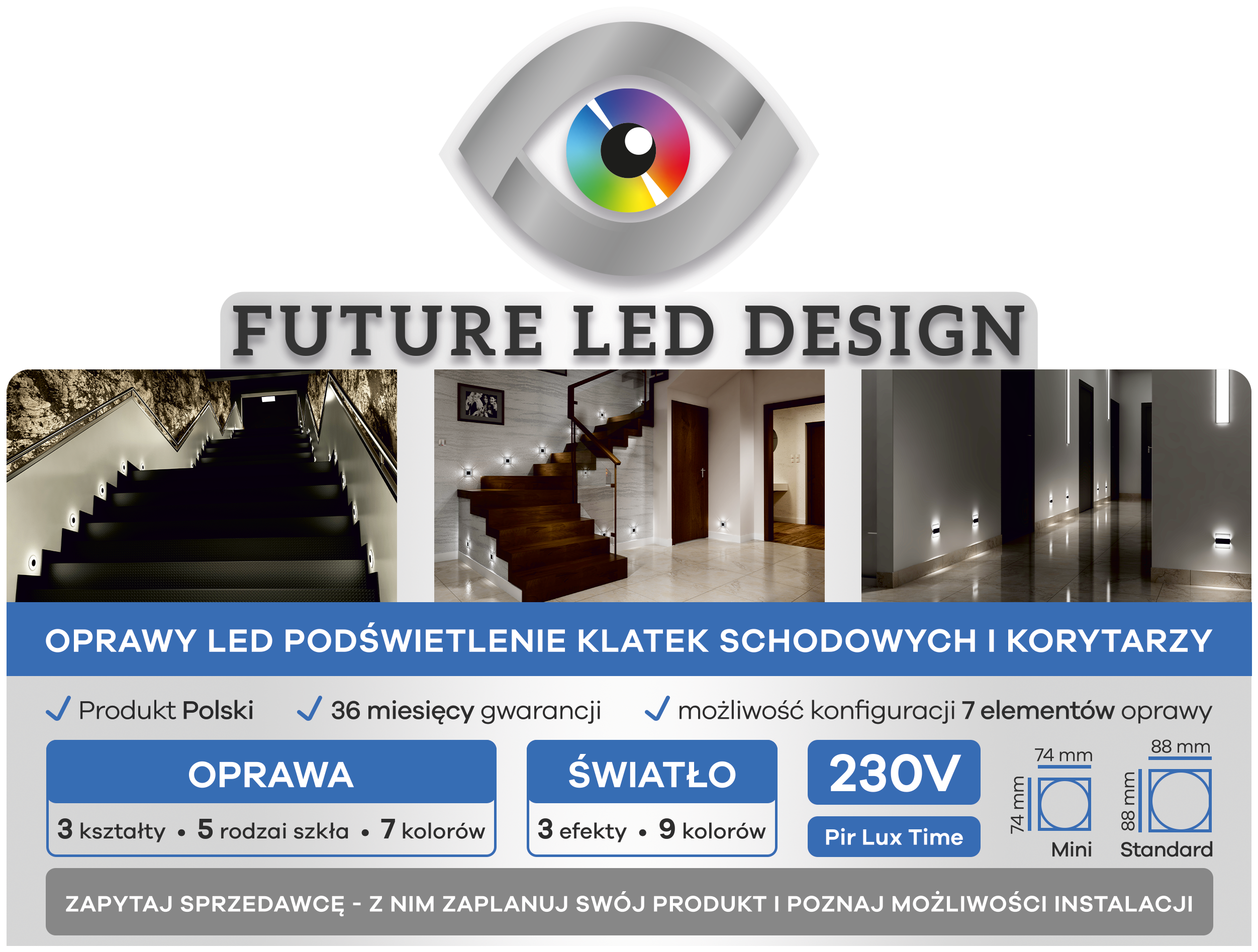 Oprawa Schodowa Led Koli Only Matt 1w 230v 88x88mm